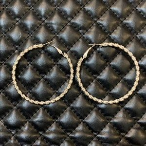 Free People Silver Tone Rope Chain Hoops